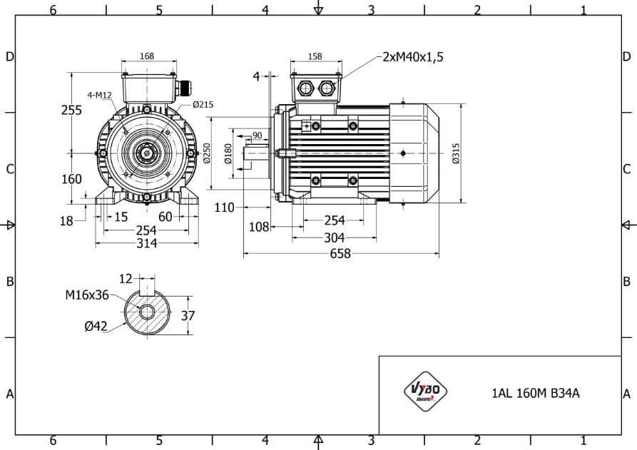 rozmerový výkres elektromotor 11kw 1AL160L-6