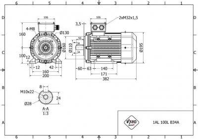 rozmerový výkres elektromotor 1,5kw 1AL100L-6