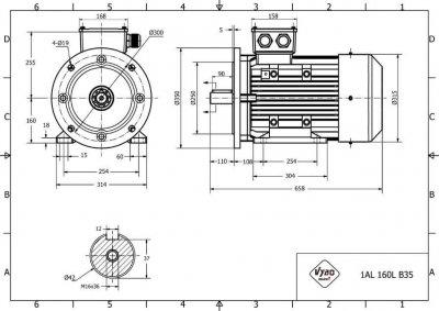 rozmerový výkres elektromotor 15kw 1AL160L-4