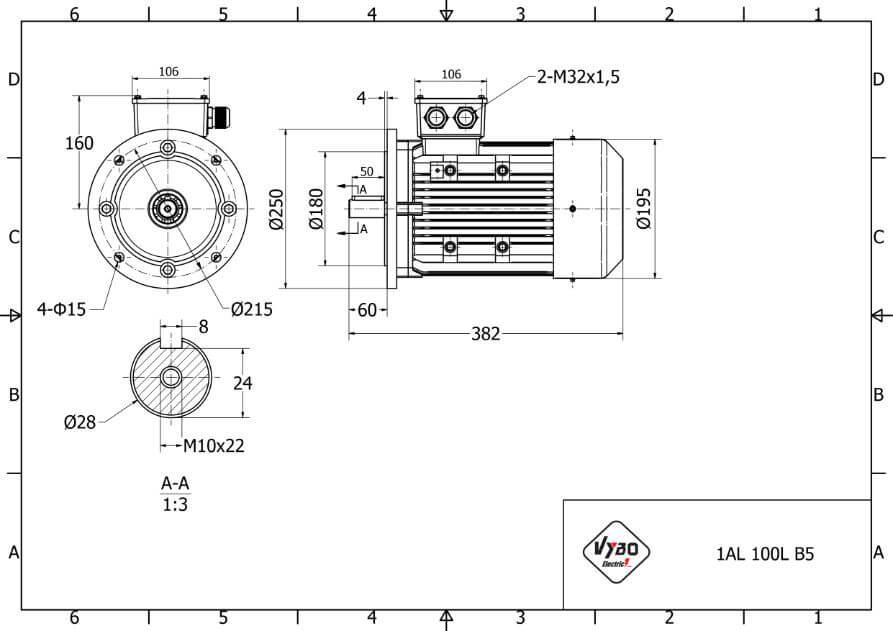 rozmerový výkres elektromotor 2,2kw 1AL100L1-4