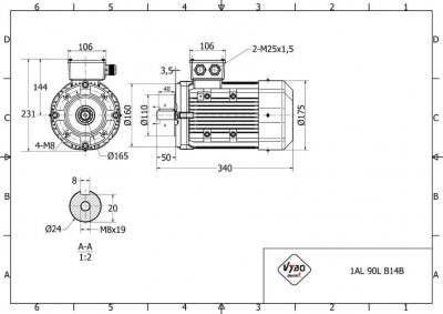 rozmerový výkres elektromotor 2,2kw 1AL90L-2