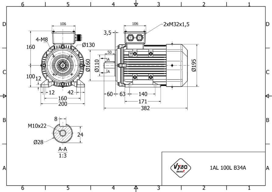 rozmerový výkres elektromotor 3kw 1AL100L2-4