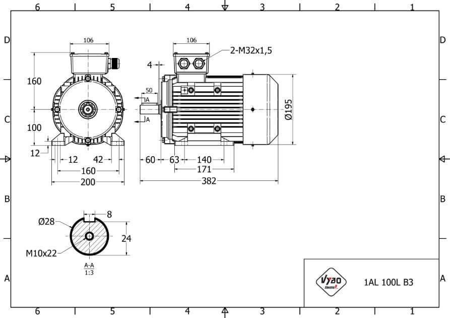 rozmerový výkres elektromotor 3kw 1AL100L-2