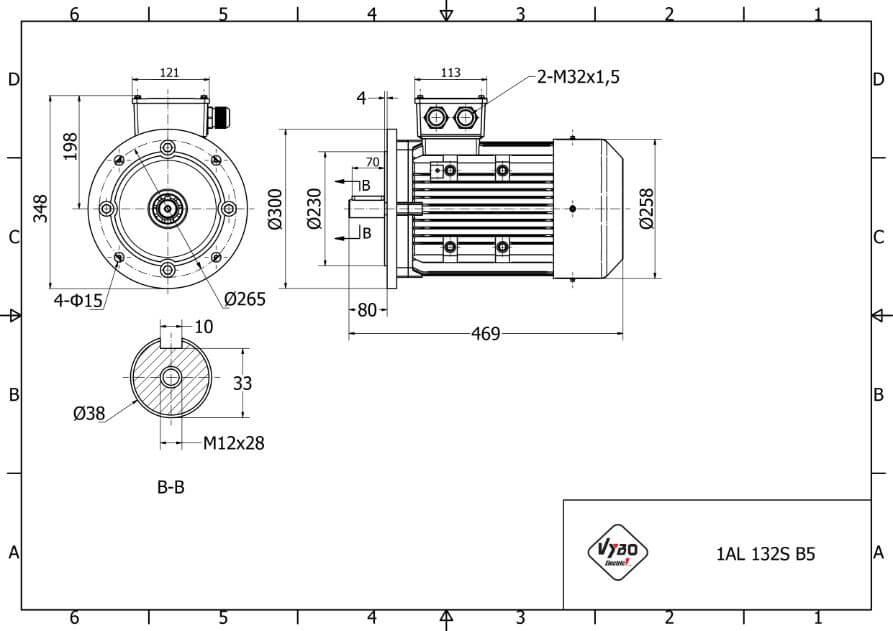rozmerový výkres elektromotor 3kw 1AL132S-6