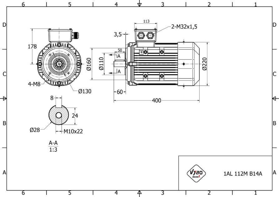 rozmerový výkres elektromotor 4kw 1AL112M-2