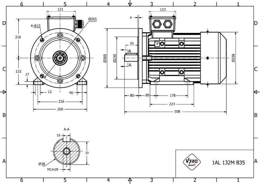 rozmerový výkres elektromotor 5,5kw 1AL132M2-6