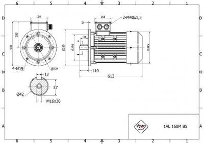 rozmerový výkres elektromotor 7,5kw 1AL160M-6