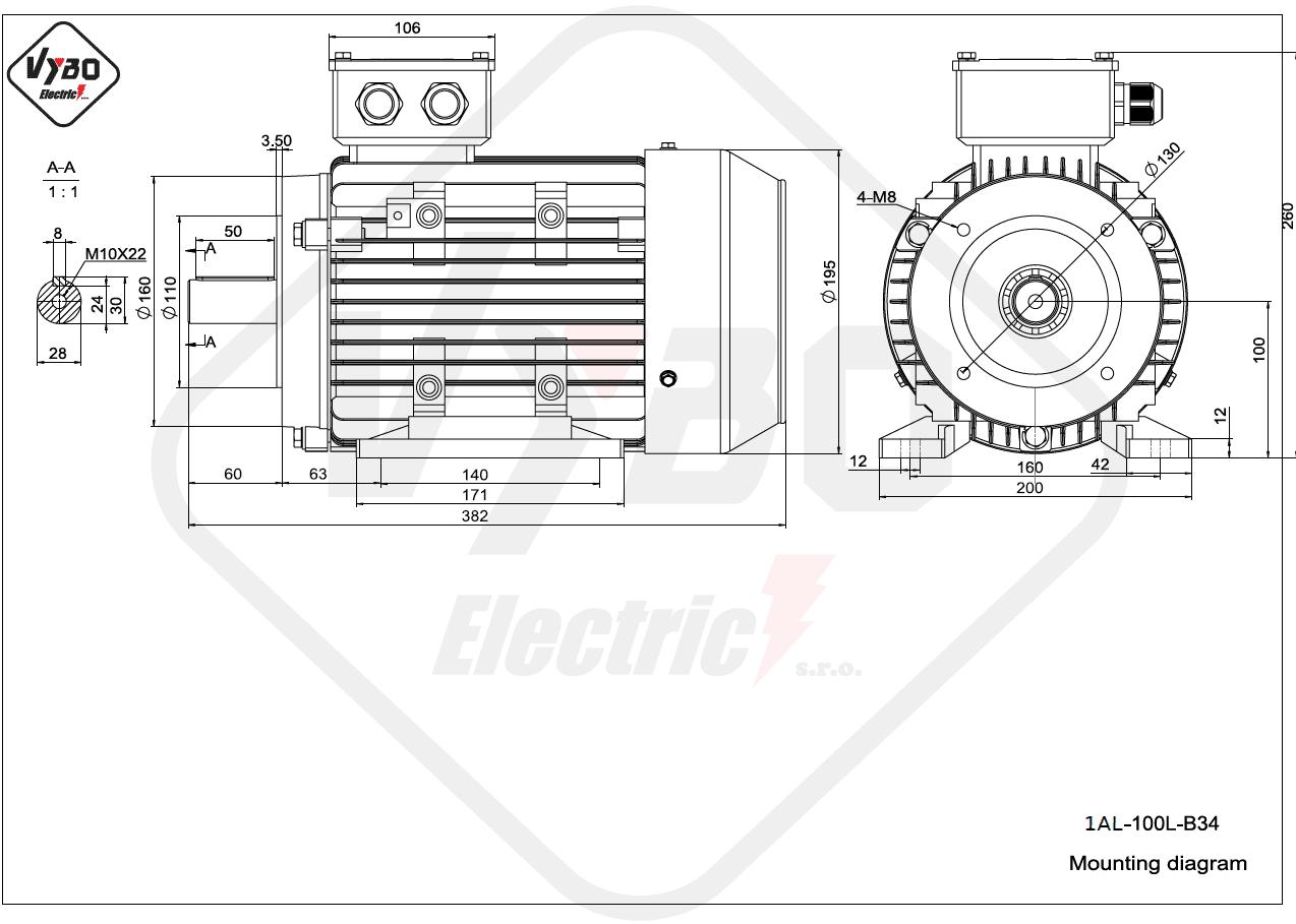 rozmerový výkres elektromotor 1AL 100L B34 online