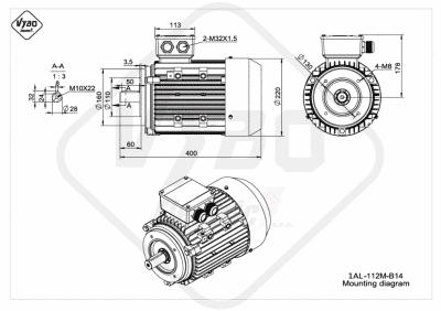 rozmerový výkres elektromotor 1AL 112M B14 online