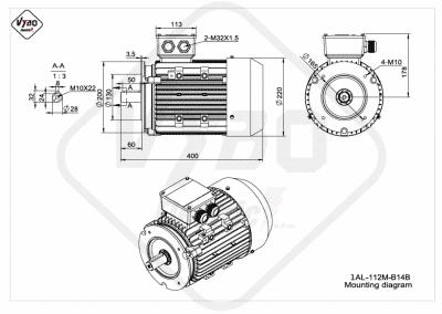 rozmerový výkres elektromotor 1AL 112M B14B online