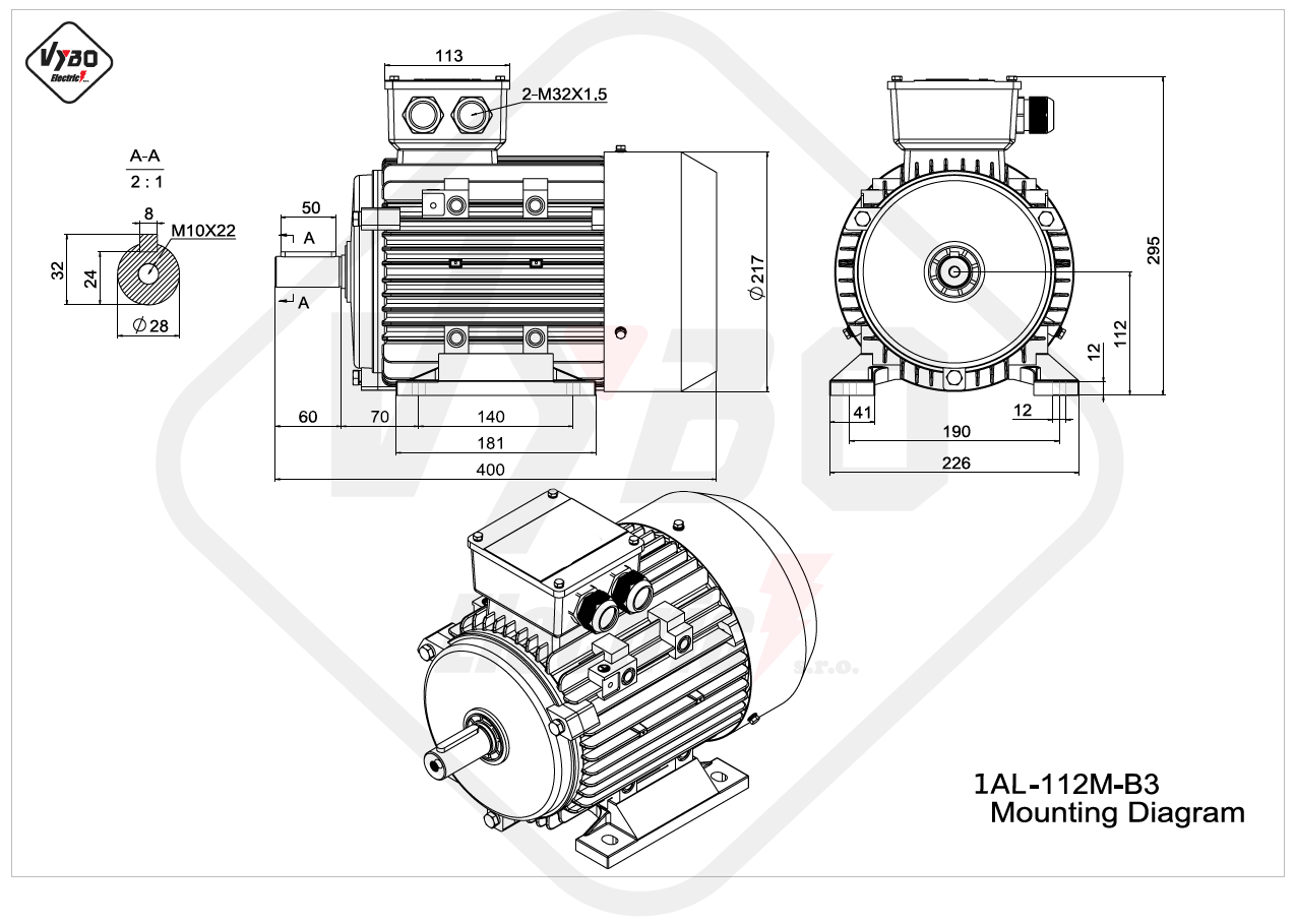 rozmerový výkres elektromotor 1AL 112M B3 online
