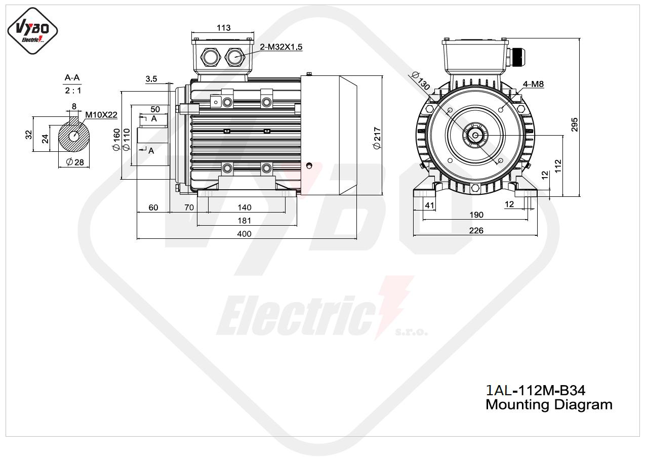 rozmerový výkres elektromotor 1AL 112M B34 online