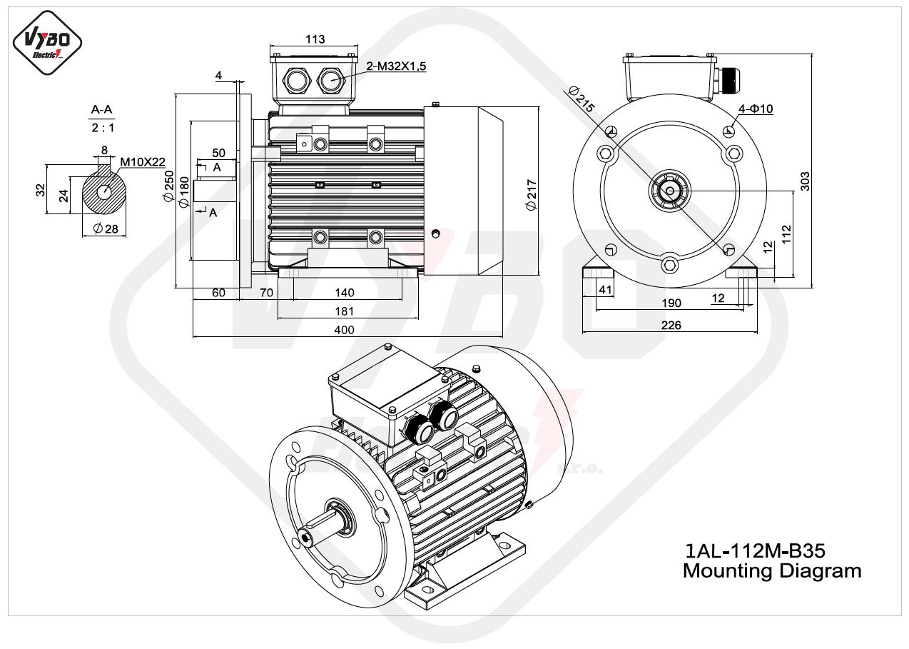 rozmerový výkres elektromotor 1AL 112M B35 online