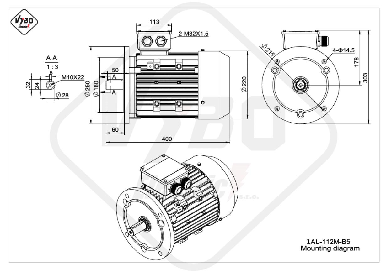 rozmerový výkres elektromotor 1AL 112M B5 online