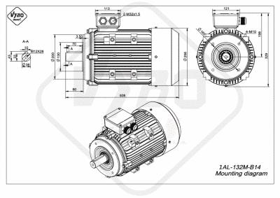 rozmerový výkres elektromotor 1AL 132M B14 online