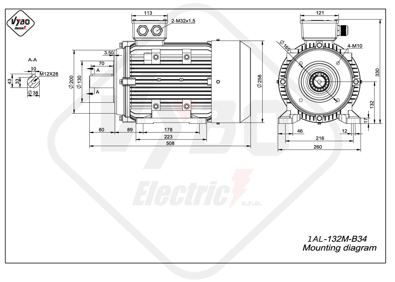 rozmerový výkres elektromotor 1AL 132M B34 online