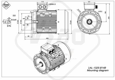 rozmerový výkres elektromotor 1AL 132S B14B online