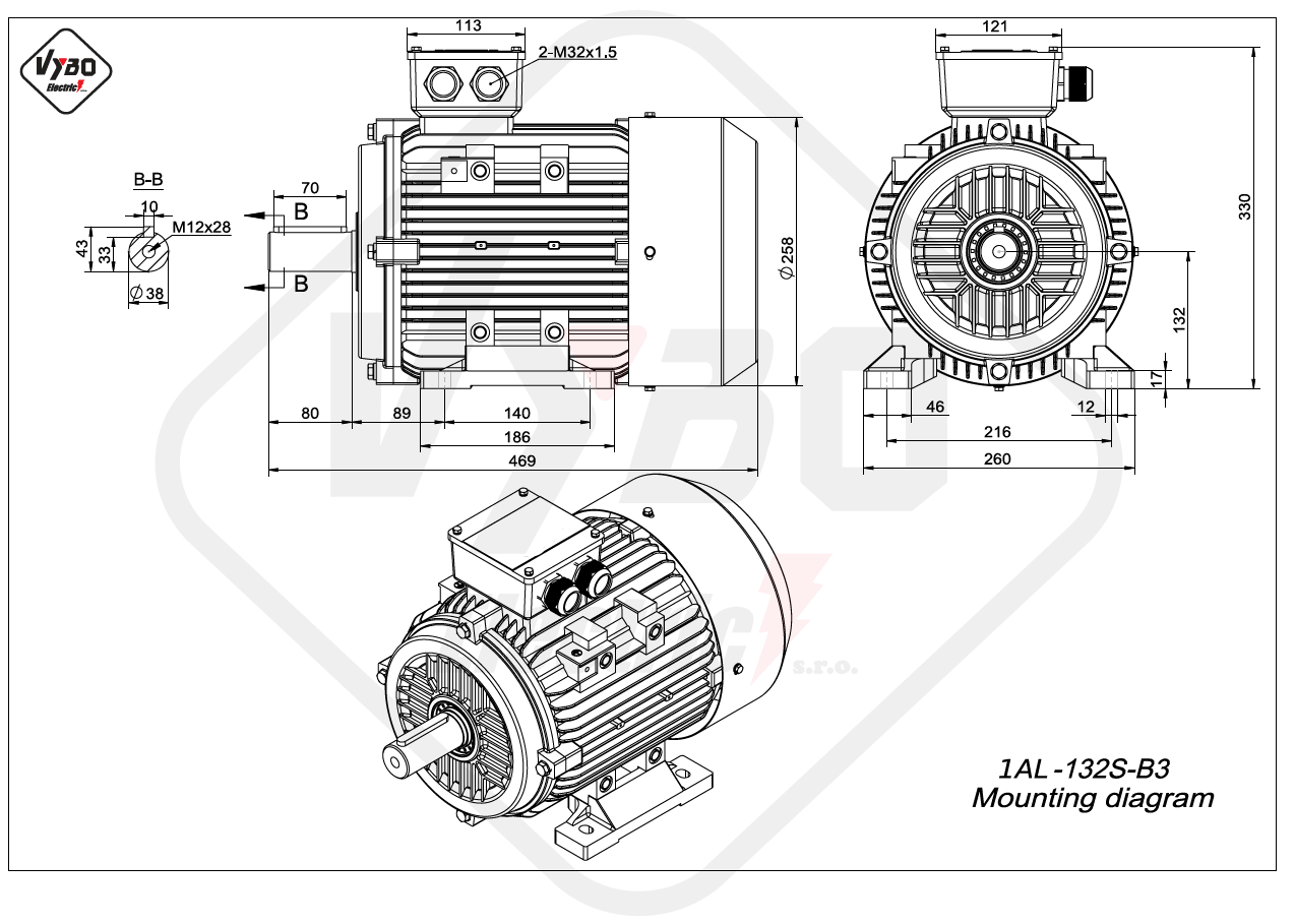 rozmerový výkres elektromotor 1AL 132S B3 online