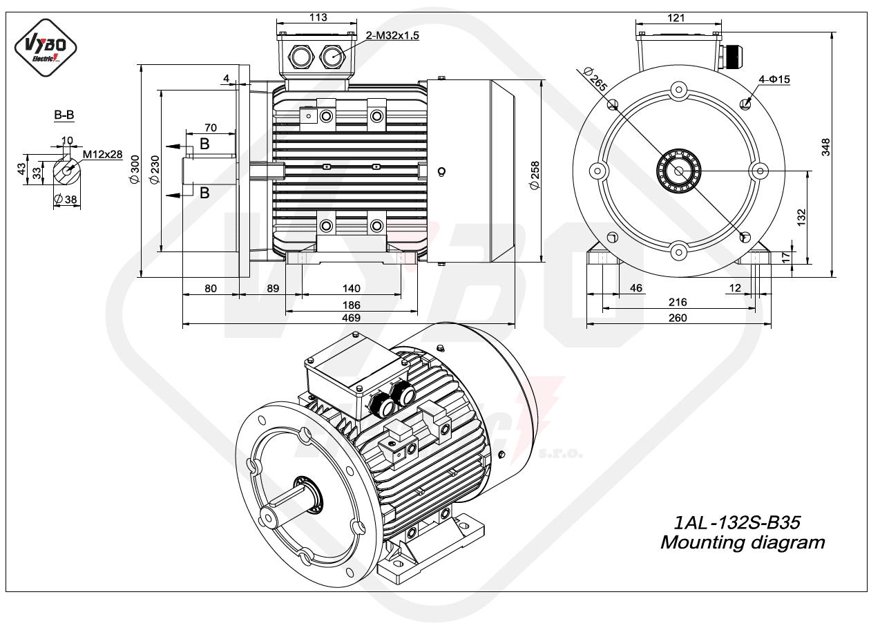 rozmerový výkres elektromotor 1AL 132S B35 online