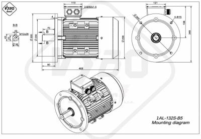 rozmerový výkres elektromotor 1AL 132S B5 online