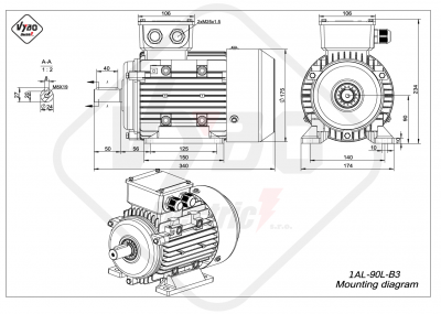 rozmerový výkres elektromotor 1AL 90L B3 online