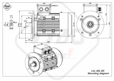 rozmerový výkres elektromotor 1AL 90L B5 online
