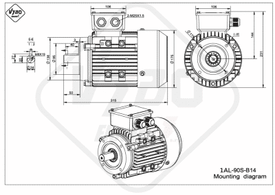 rozmerový výkres elektromotor 1AL 90S B14 online