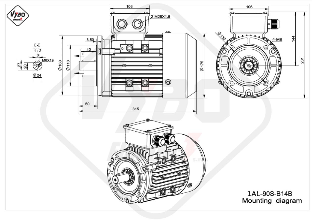 rozmerový výkres elektromotor 1AL 90S B14B online