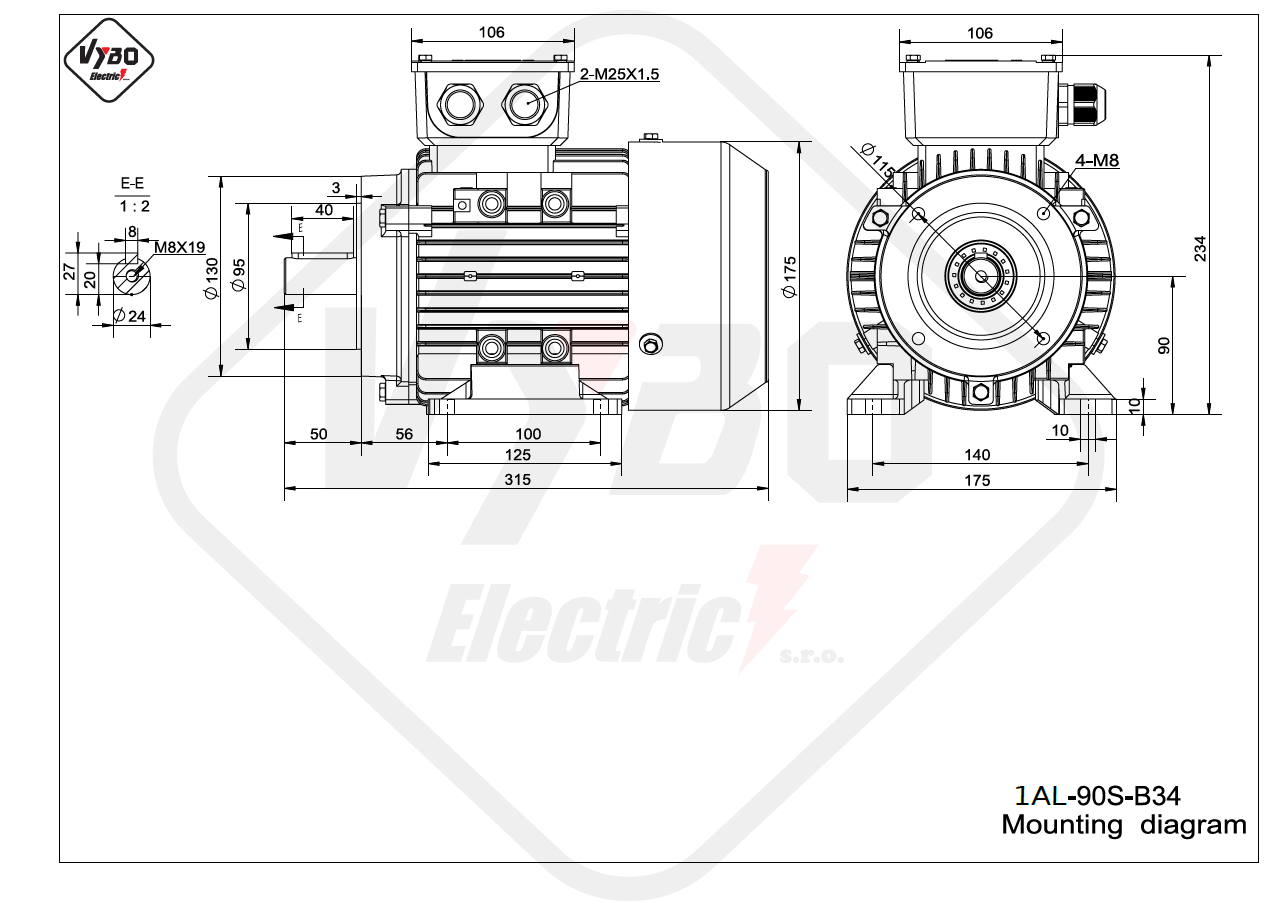 rozmerový výkres elektromotor 1AL 90S B34 online