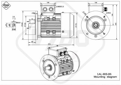rozmerový výkres elektromotor 1AL 90S B5 online