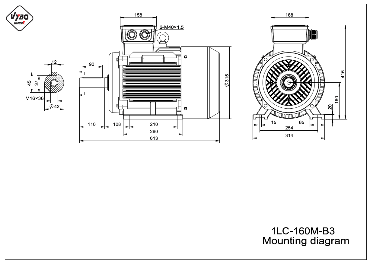 rozmerový výkres elektromotor 1LC 160M B3