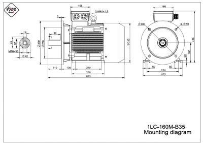 rozmerový výkres elektromotor 1LC 160M B35