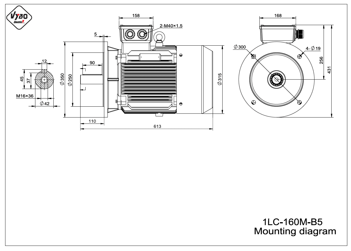 rozmerový výkres elektromotor 1LC 160M B5