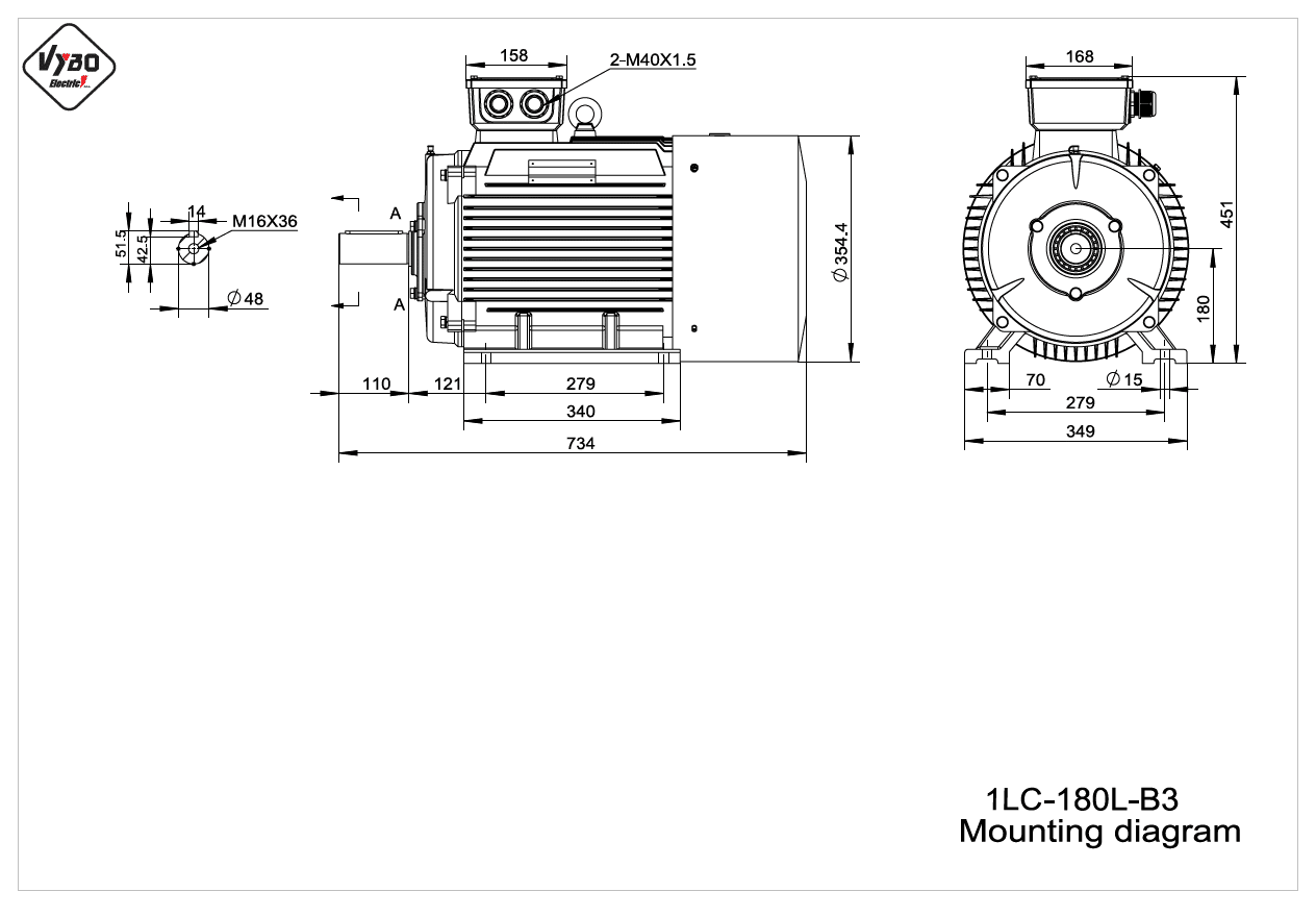 rozmerový výkres elektromotor 1LC 180L B3