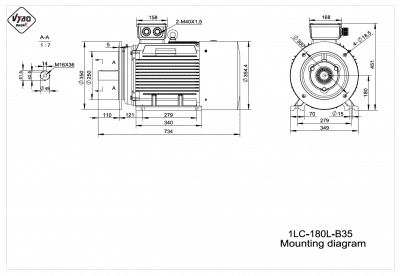 rozmerový výkres elektromotor 1LC 180L B35