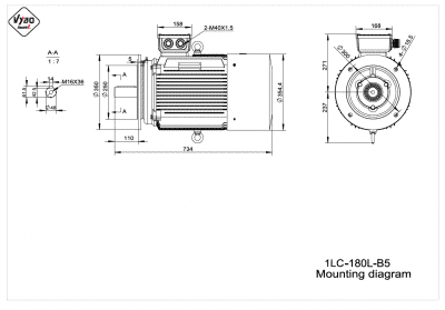 rozmerový výkres elektromotor 1LC 180L B5