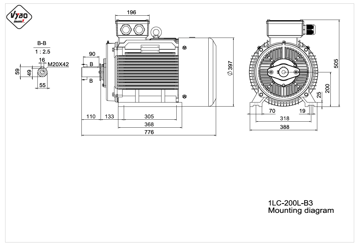 rozmerový výkres elektromotor 1LC 200L B3