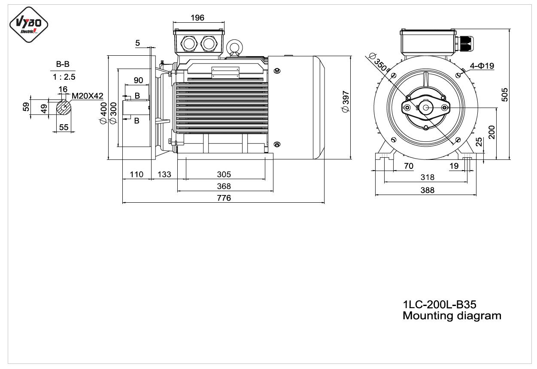 rozmerový výkres elektromotor 1LC 200L B35