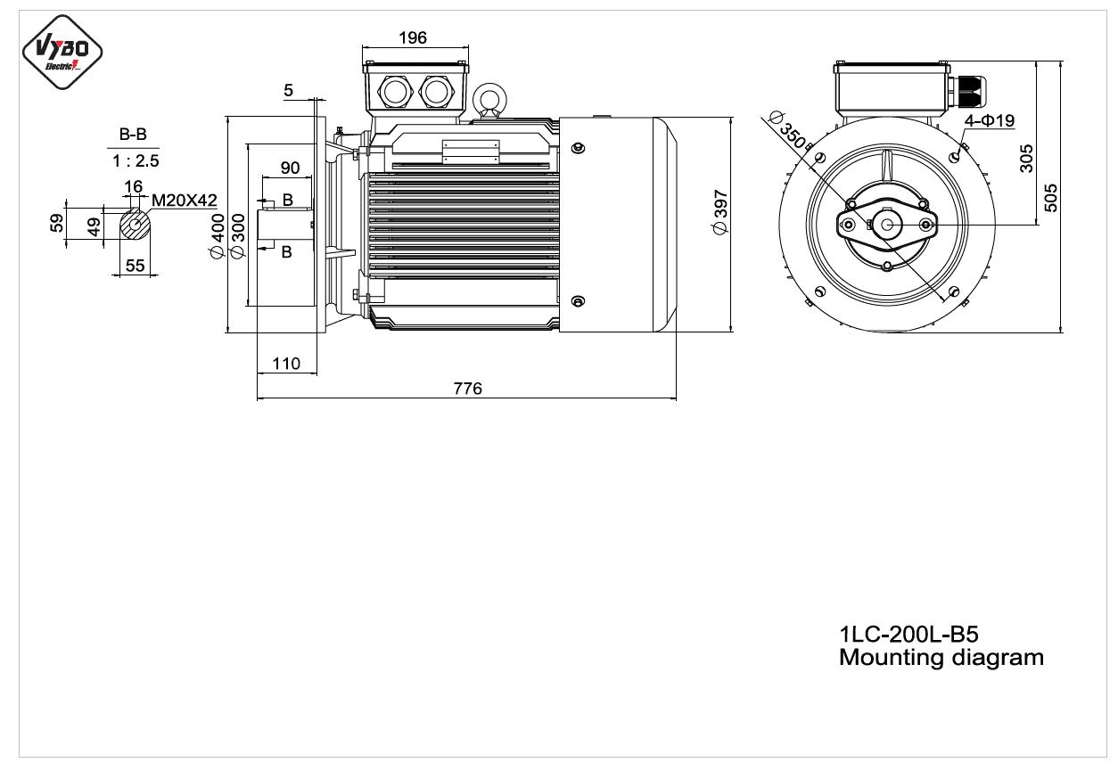 rozmerový výkres elektromotor 1LC 200L B5