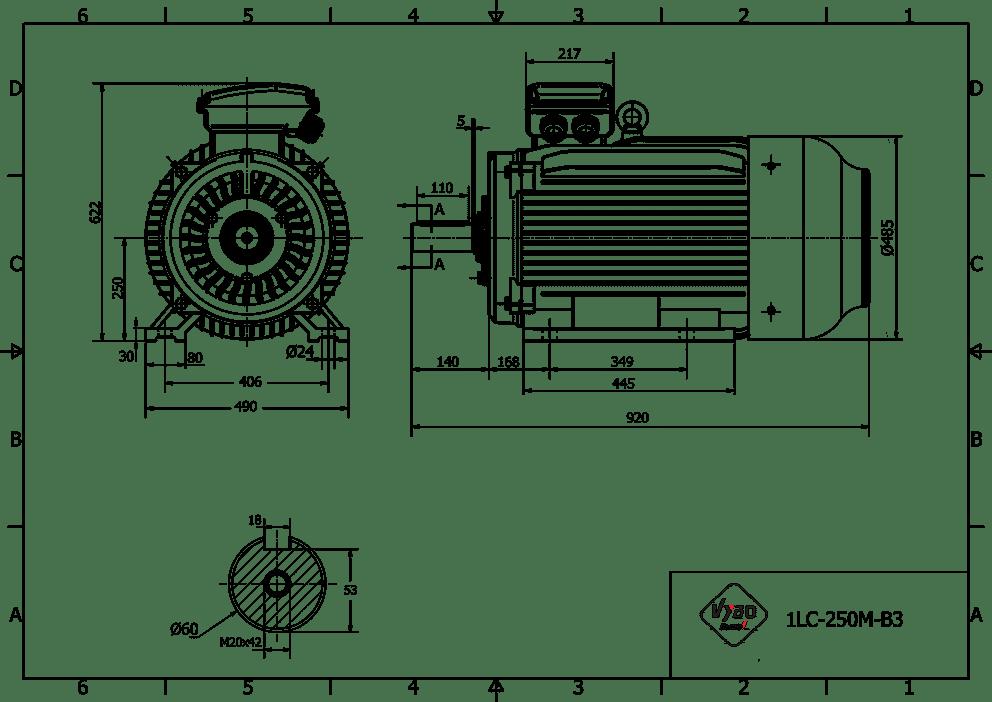 rozmerový výkres elektromotor 37kw 1LC250M-6