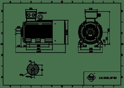 rozmerový výkres elektromotor 132kw 1LC315L06