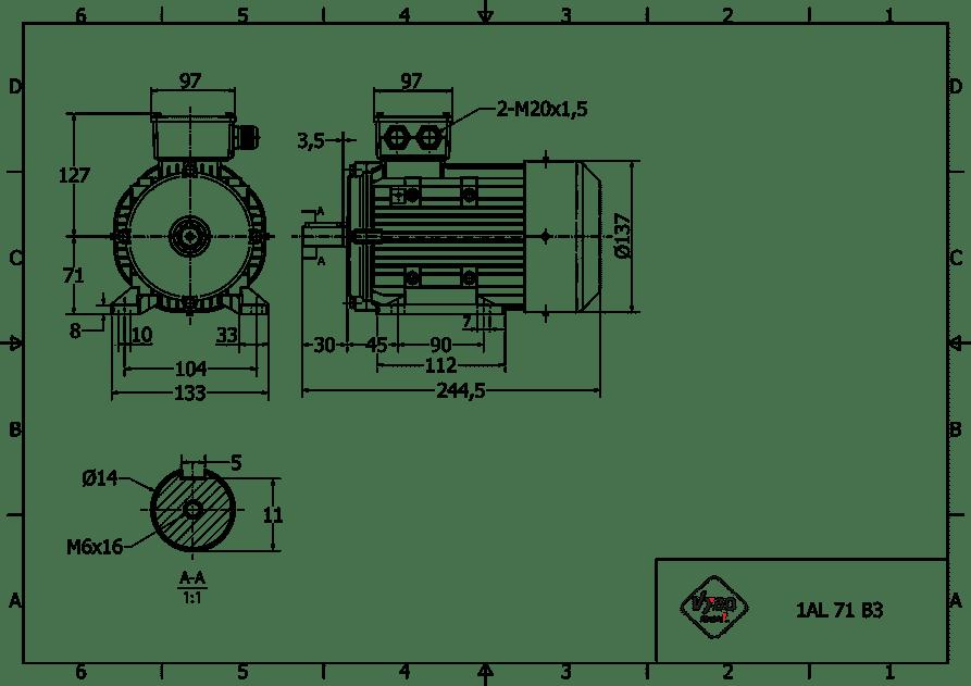 rozmerový výkres elektromotor 0,55kw 1AL71M-2