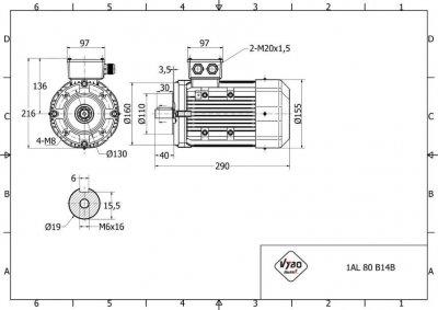 rozmerový výkres elektromotor 0,55kw 1AL80A-4