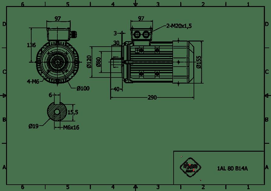 rozmerový výkres elektromotor 0,75kw 1AL80S-2