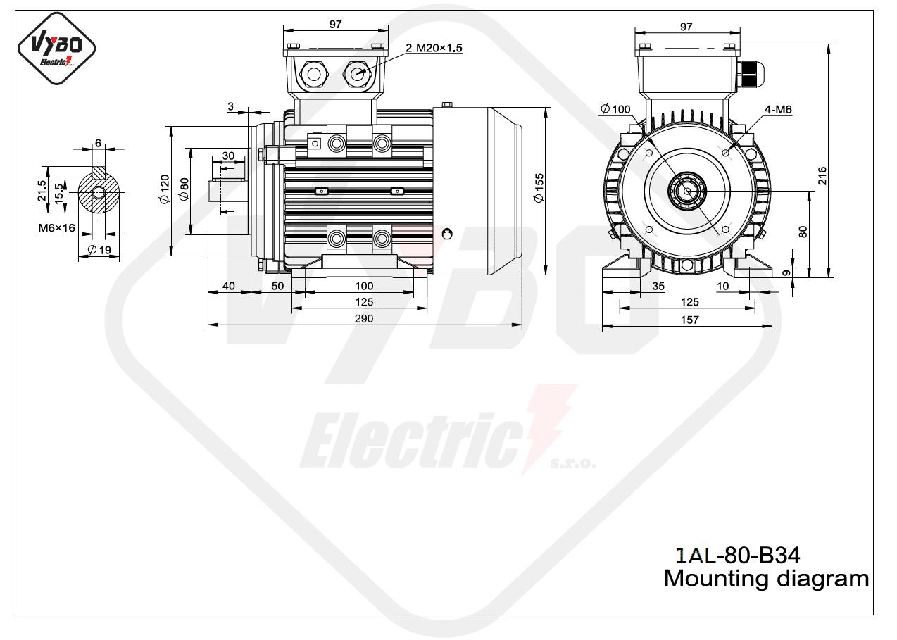 rozmerový výkres elektromotor 1AL 80 B34 online