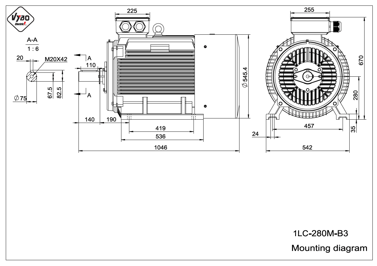 rozmerový výkres elektromotor 1LC 280M B3