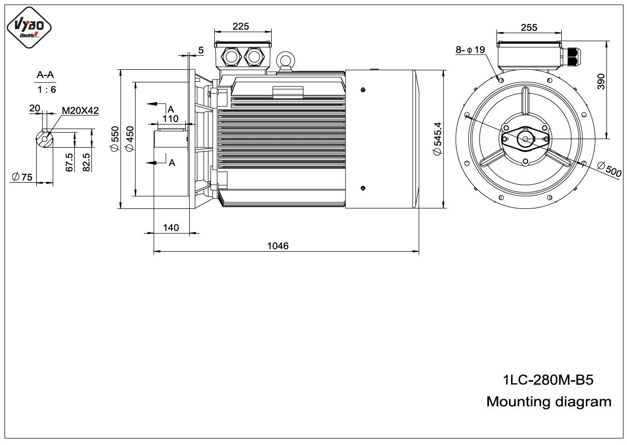 rozmerový výkres elektromotor 1LC 280M B5