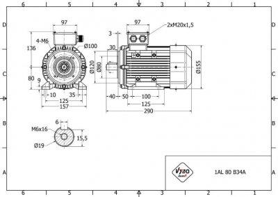 rozmerový výkres elektromotor 1,1kw 1AL80M-2