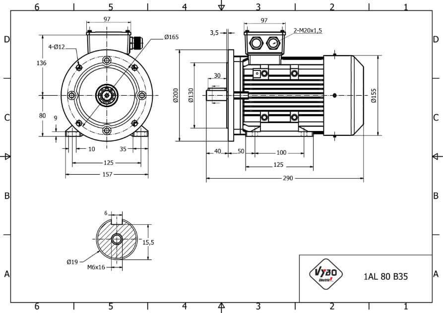 rozmerový výkres elektromotor 0,37kw 1AL80S-6