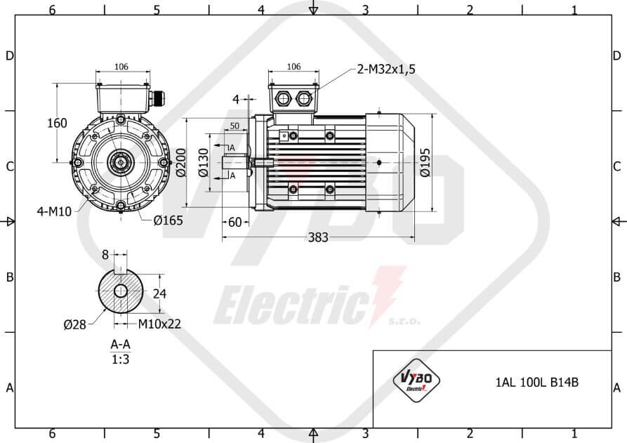 rozmerový výkres elektromotor 1,1 kw 1AL100L2-8